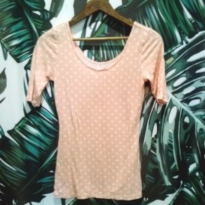 Tops - Polka Dots Peach + White T Small